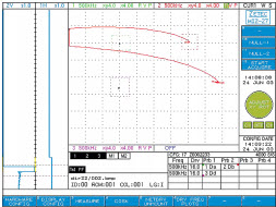 Screen shot of InSite CT display during eddy current iinspection of welding rod and wire
